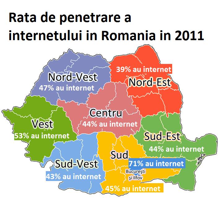 Rata de penetrare a internetului in ro harta 2011