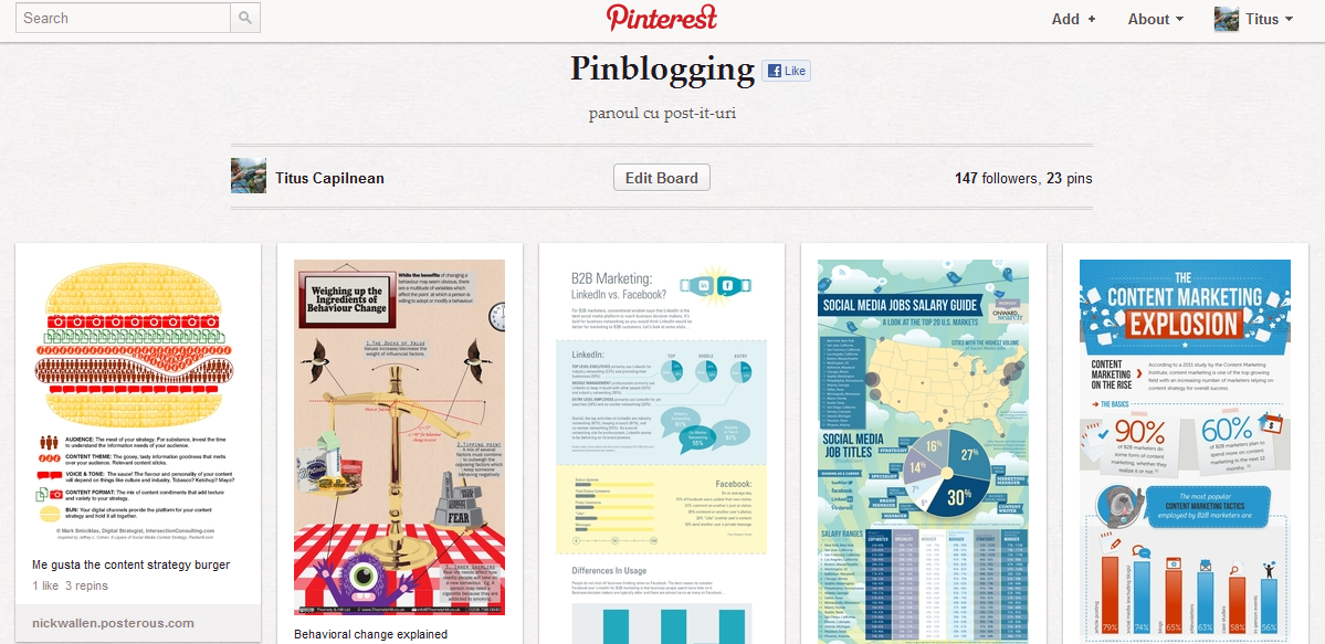 La ce foloseste Pinterest: pinblogging